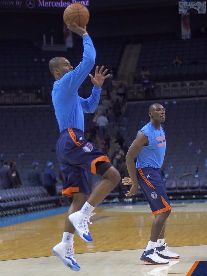 Bobcats warm up.