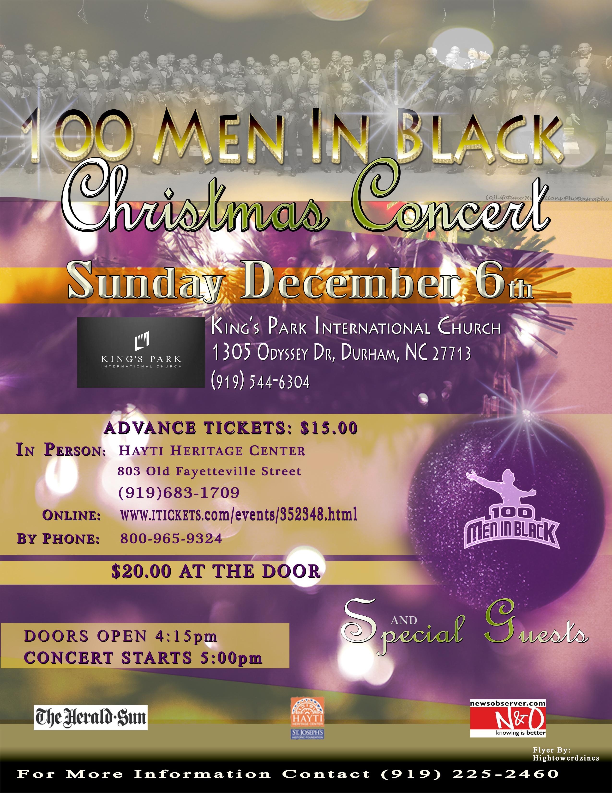 December 6th Christmas Concert Flyer 100 Men In Black